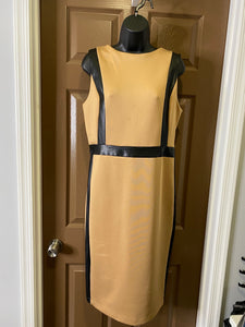 Sleeveless Back Zipper Camel Knit Dress with Black Faux Leather Trim