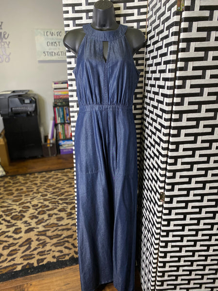 Sleeveless Denim Maxi w/Front Slit