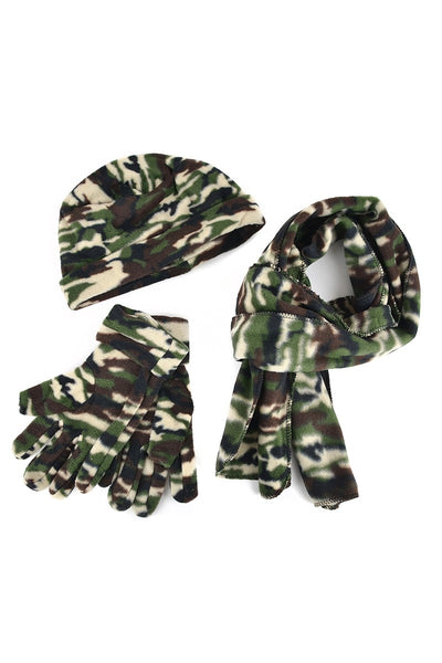Women's Fleece Camouflage Hat, Gloves and Scarf Set