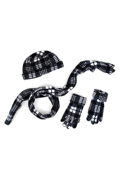 Women's Gray Plaid Fleece Hat, Gloves and Scarf Set