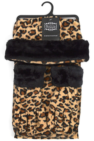 Women's Fleece Leopard  Hat, Gloves and Scarf Set