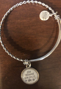 Stainless Steel She Believed She Could Bracelet