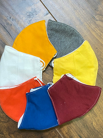100%  COTTON BREATHABLE FACE MASK WITH DISPOSABLE FILTER. ASSORTED COLORS