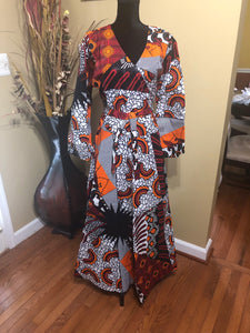 African Print Wrap Dress (ONE SIZE)