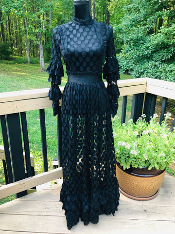 Black Sheer Polka Dot Ruffle Trim Maxi Dress