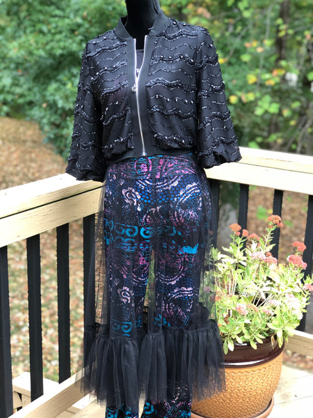 Black Sheer Tulle Embellished Duster w/Ruffled Hem