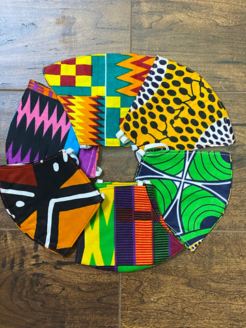 100% Cotton 2-Layered Reversible African Print Face Masks