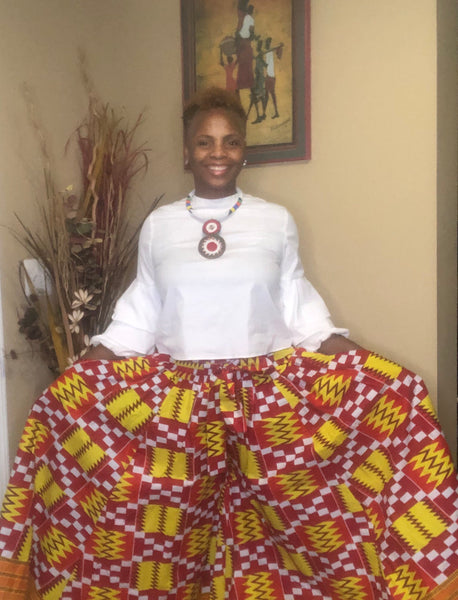 African Print Crop Palazzo Pants w/Pockets (ONE SIZE)
