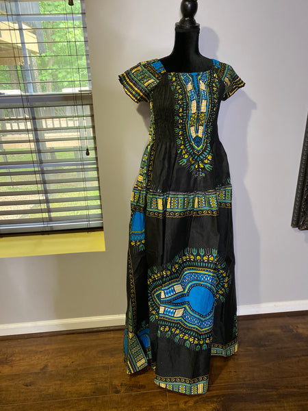 Traditional African Print Short Sleeve Smock Bodice Maxi Dress w/Pockets and Headwrap (One Size)