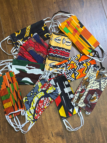 100% Cotton 2-Layered African Print Face Masks w/Filter Pocket and 1 filter