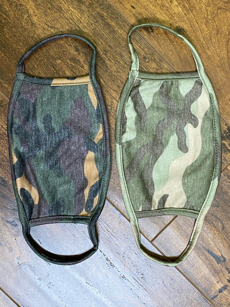 100% CAMO PRINT COTTON FACE MASK WITH DISPOSABLE MASK