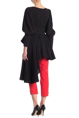 Long Sleeve Asymmetrical Belted Top