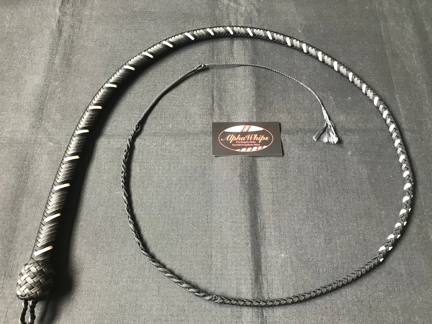 4ft, 16 plait, Foundation Series Nylon Snake Whip, Graphite, Viper Pattern