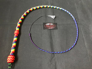 3ft, 12 plait, Junior Series Nylon Bullwhip, Rainbow Pattern