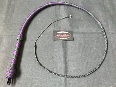 3ft, 12 plait, Junior Series Nylon Bullwhip, Black and Purple, Tapered Chevron Pattern