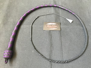 3ft, 12 plait, Junior Series Snake Whip, Black and Purple, Chevron Pattern