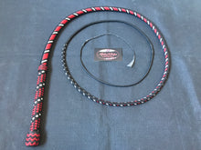 Load image into Gallery viewer, AlphaWhips 28 plait, Sport Series Nylon Paracord Bullwhip, 6 feet long. with Dyneema Fall, In black, red and white viper style pattern.