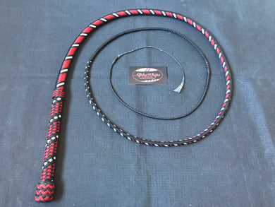 AlphaWhips 28 plait, Sport Series Nylon Paracord Bullwhip, 6 feet long. with Dyneema Fall, In black, red and white viper style pattern.