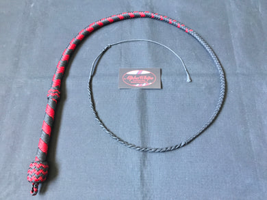 3ft, 12 plait, Junior Series Nylon Bullwhip, Black and Red, Tapered Chevron Pattern