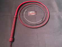Load image into Gallery viewer, AlphaWhips 28 plait, Sport Series Nylon Paracord Bullwhip, 6 feet long. with Dyneema Fall, black and red side by side pattern.