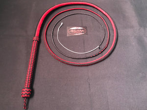 AlphaWhips 28 plait, Sport Series Nylon Paracord Bullwhip, 6 feet long. with Dyneema Fall, black and red side by side pattern.