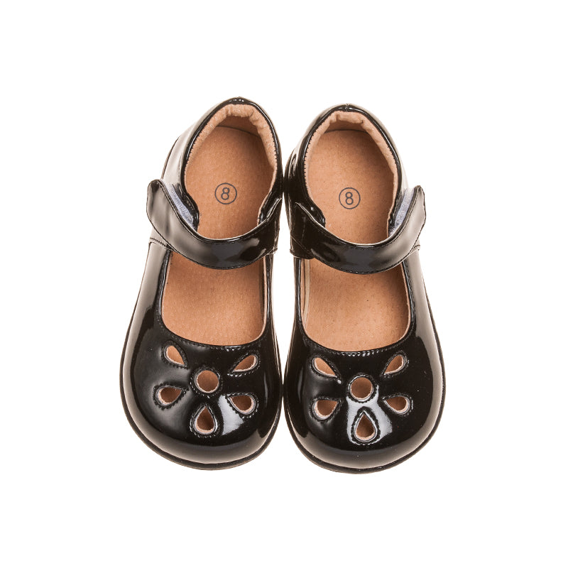 Girl's Leather Toddler  Non-Squeaky Black Petal Patent Style  (Black Bottoms)