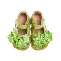 CLOSE OUT SALE! Leather Toddler Girl's Mary Jane Green Clip on Bow Squeaky Shoes