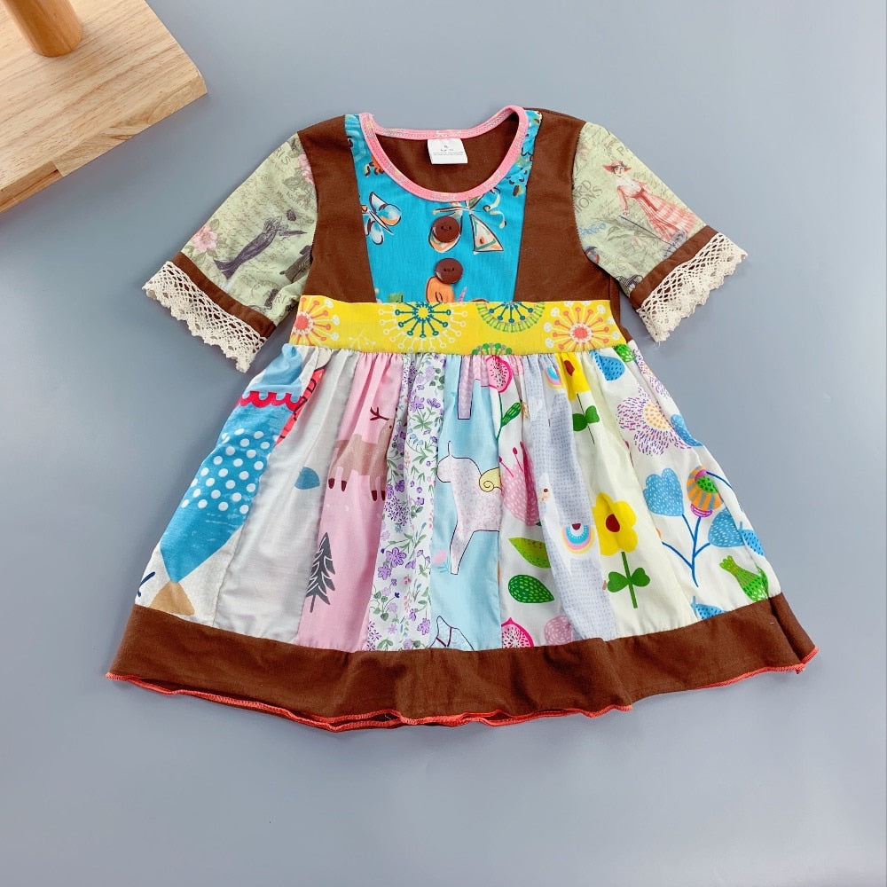 W-1202  Girl's Cotton Dress Size 3T-8 READ TO SHIP