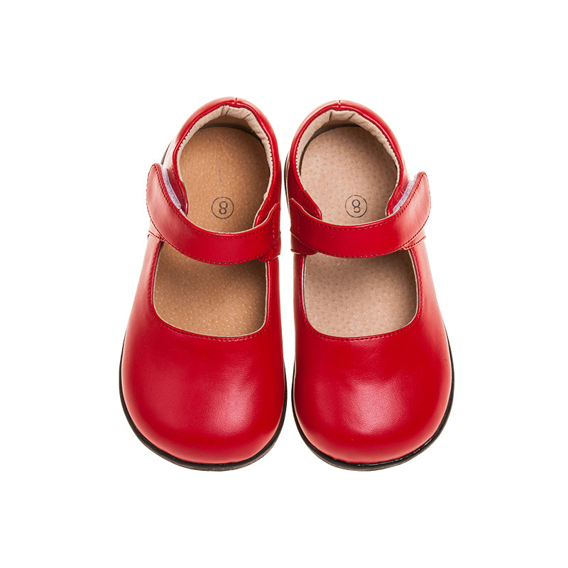 Girl's Leather Toddler  Non-Squeaky Solid Red Mary Jane Style (Black Bottoms)