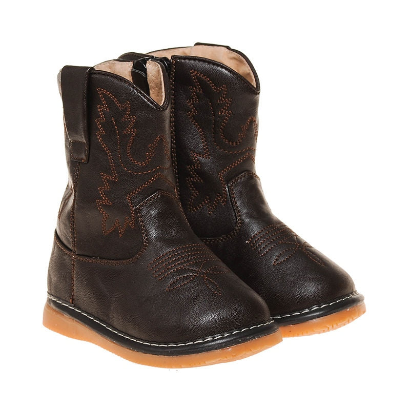 Toddler Boy's  Dark Brown Cowboy  Squeaky Boots
