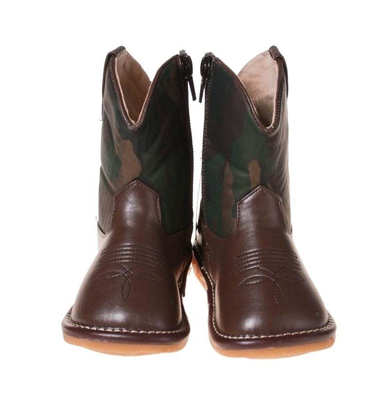 Toddler Boy's  Camo Cowboy  Squeaky Boots Size 1 & 2 ONLY