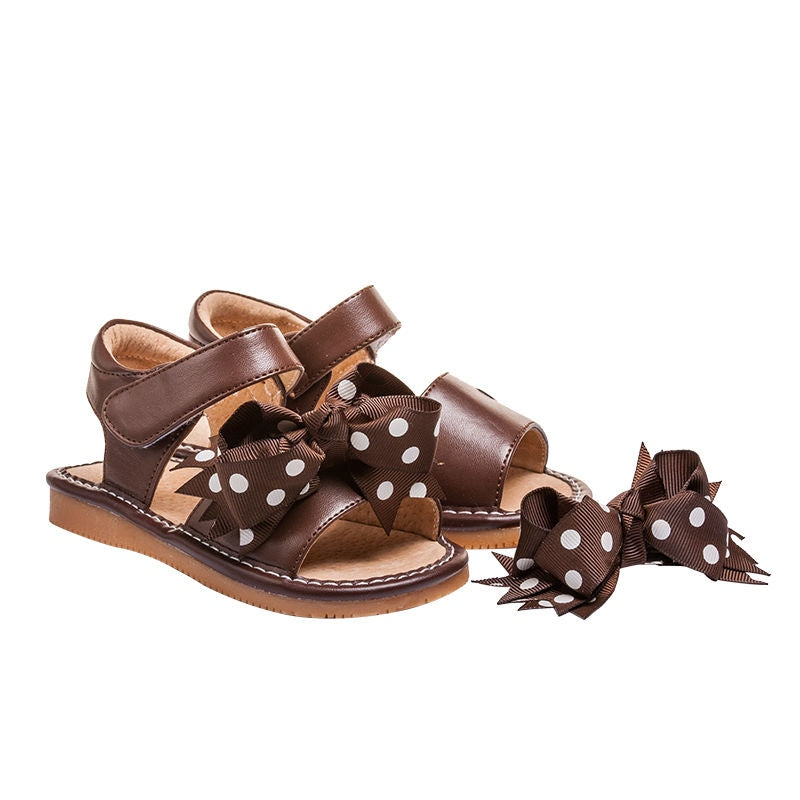 Leather Toddler Girl's Mary Jane Brown Clip on Bow Squeaky Shoe Sandal