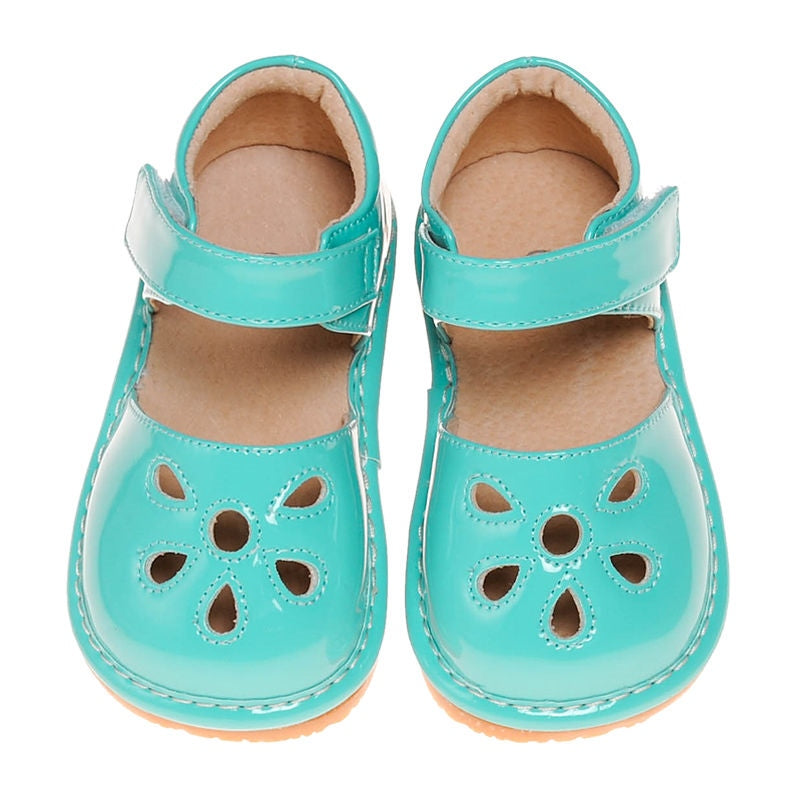 Leather Toddler Girl's Turquoise Paten Petal Squeaky Shoes