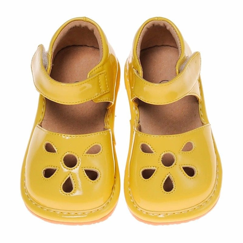 CLOSEOUT SALES!Leather Toddler Girl's Yellow Paten Petal Squeaky Shoes