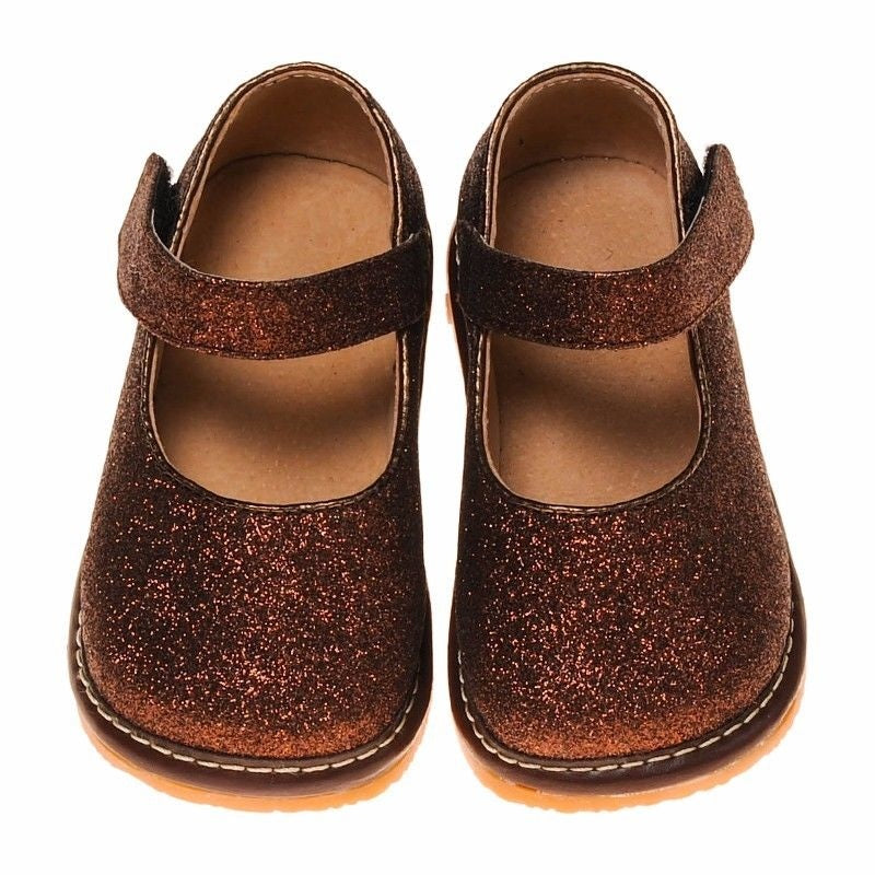 Leather Toddler Girl's Mary Jane Brown Sparkle Squeaky Shoes