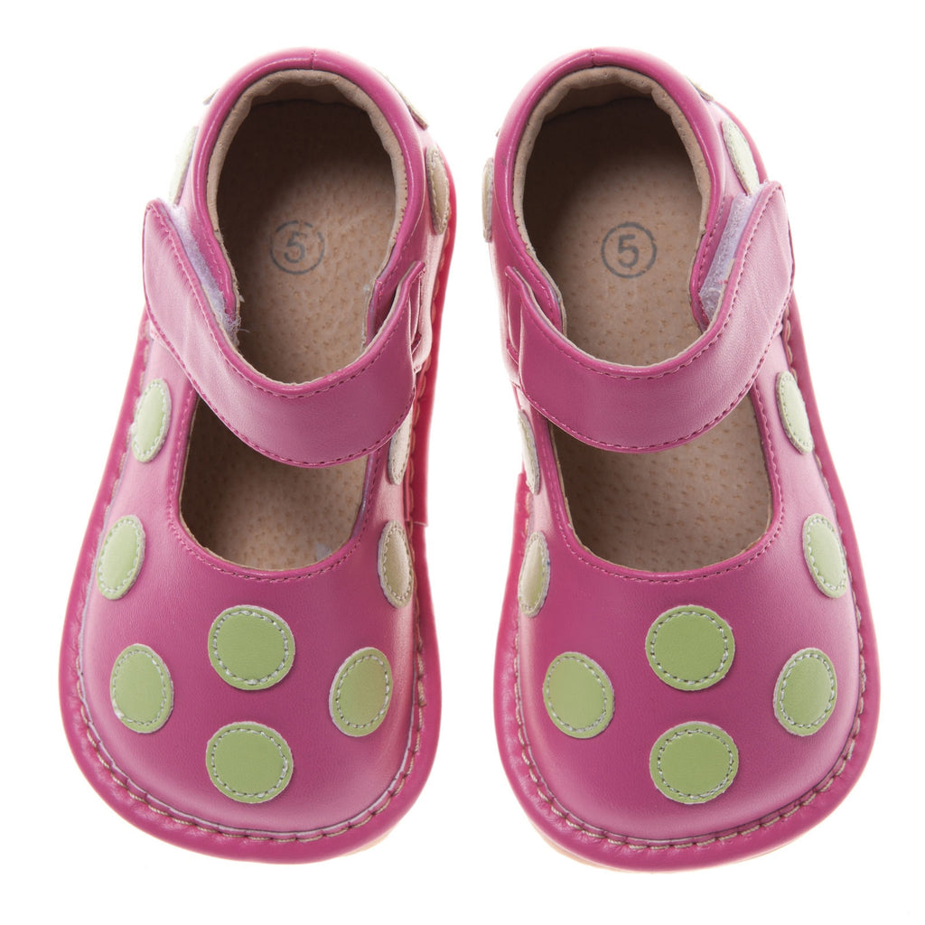 Size 1 Only!Discontinued Leather Toddler Girl's Hot Pink with Lime Dot Squeaky Shoes