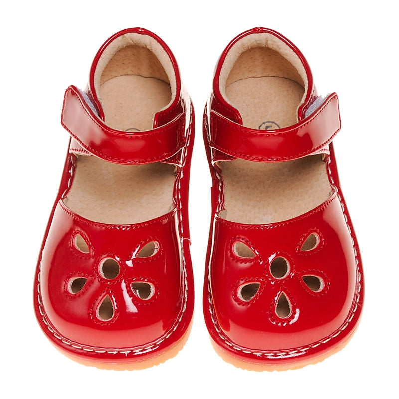 CLOSEOUT SALE!Leather Toddler Girl's Red Paten Petal Squeaky Shoes