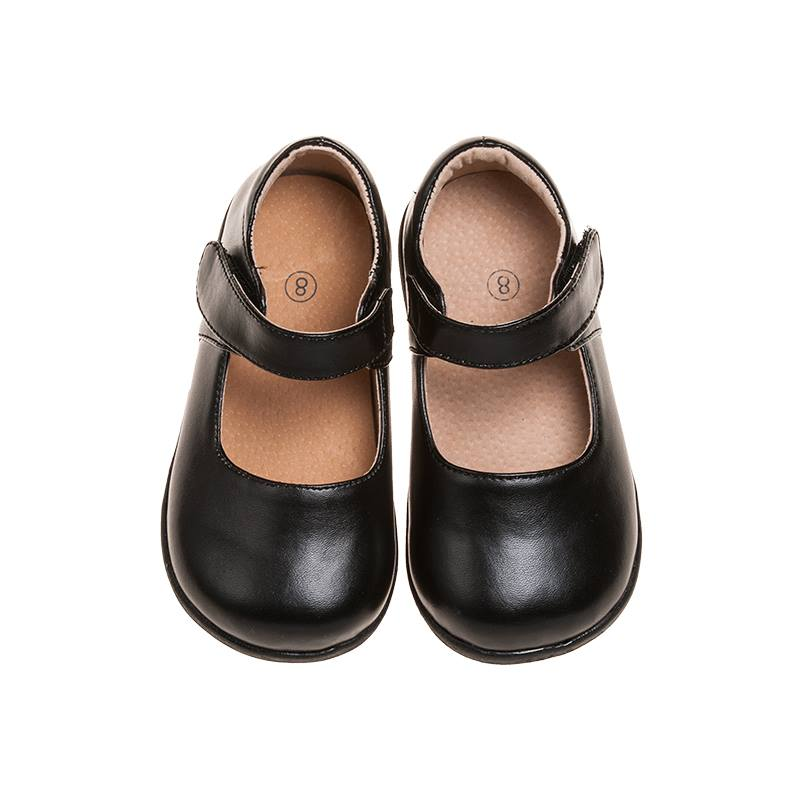 Girl's Leather Toddler  Non-Squeaky Solid Black Mary Jane Style (Black Bottoms)