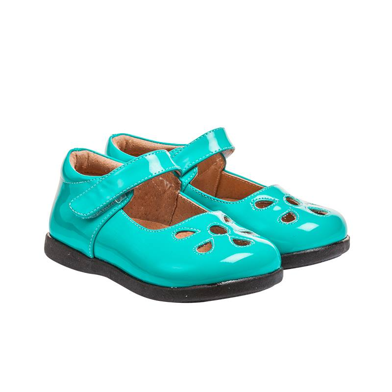 Girl's Leather Toddler Turquoise Non-Squeaky Patent Petal Style (Black Bottoms)