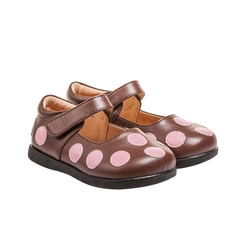 Girl's Leather Toddler  Non-Squeaky Brown and Pink Polka Dot Mary Jane Style (Black Bottoms)
