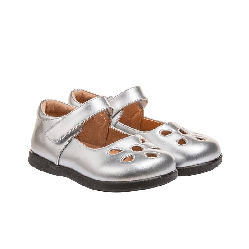 Girl's Leather Toddler Silver Non-Squeaky Patent Petal Style (Black Bottoms)