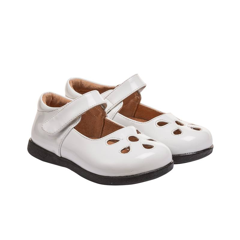 Girl's Leather Toddler White Non-Squeaky Patent Petal Style (Black Bottoms)