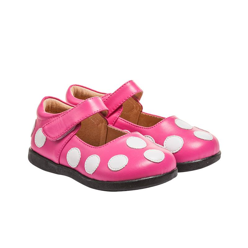Girl's Leather Toddler  Non-Squeaky Hot Pink and White Polka Dot Mary Jane Style (Black Bottoms)