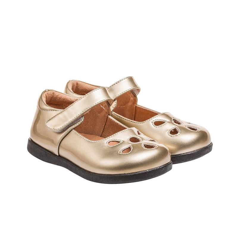 Girl's Leather Toddler Gold Non-Squeaky Patent Petal Style (Black Bottoms)