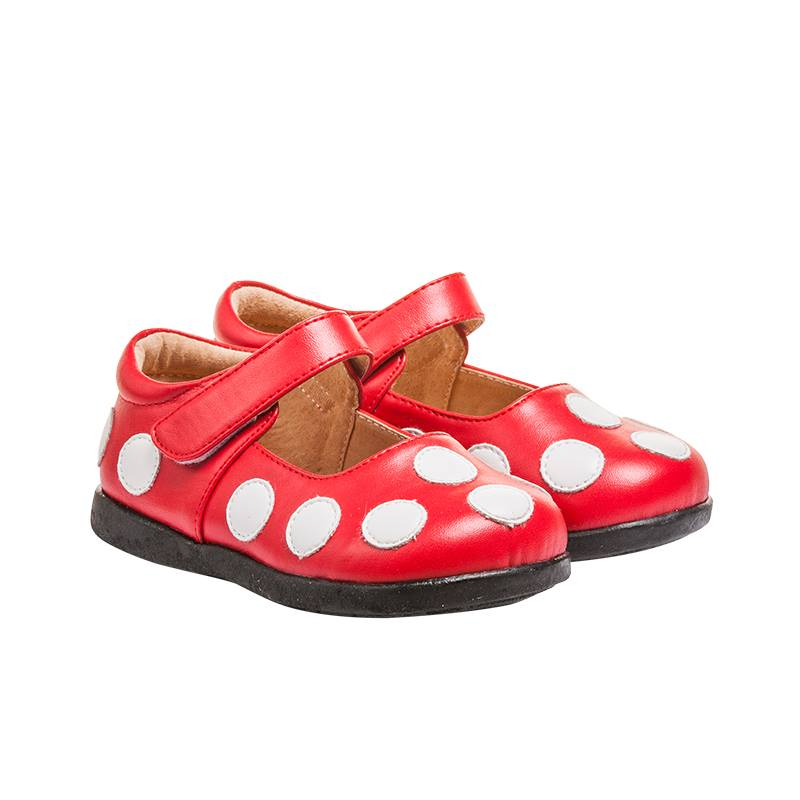 Girl's Leather Toddler  Non-Squeaky Red and White Polka Dot Mary Jane Style (Black Bottoms)