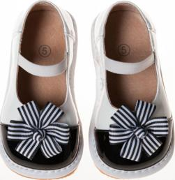 Size 1 only! Leather Toddler Girl's Patent Black and White Clip on Flowers Squeaky Shoes