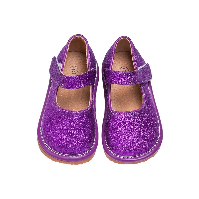 Leather Toddler Girl's Mary Jane Purple Sparkle Squeaky Shoes