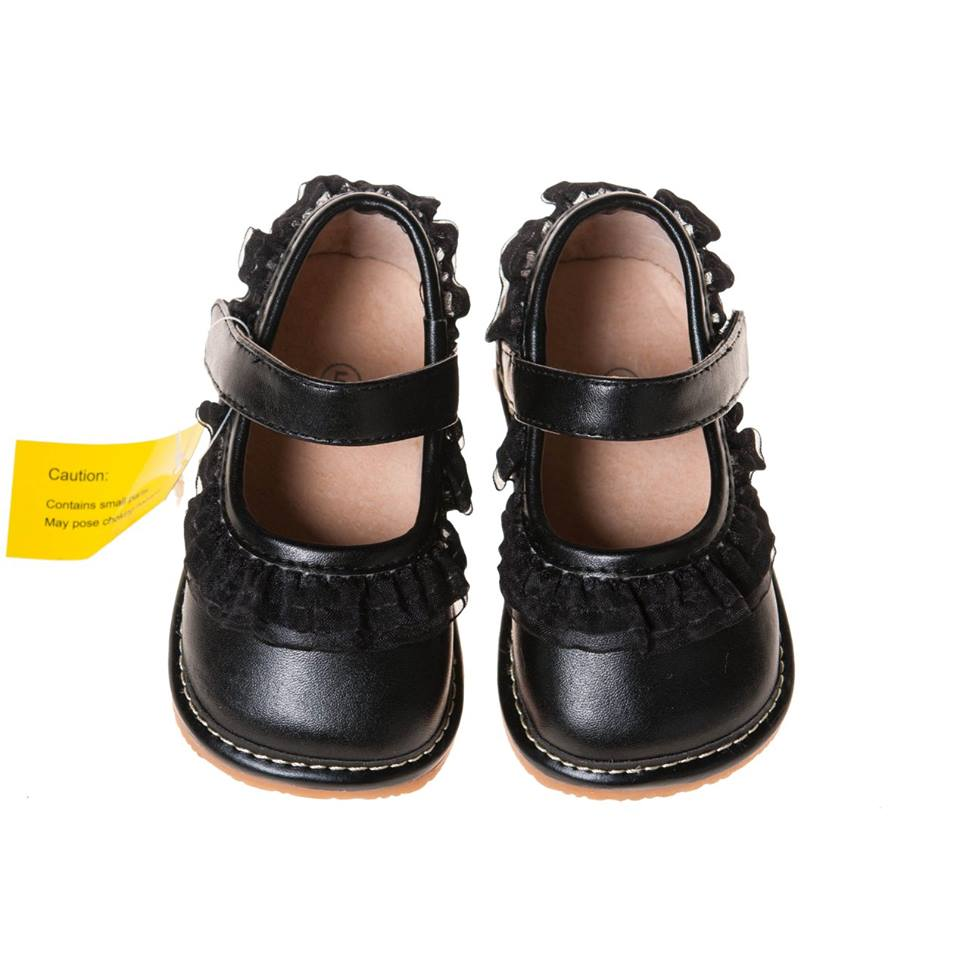 Leather Toddler Girl's Black Ruffle Mary Jane Squeaky Shoes