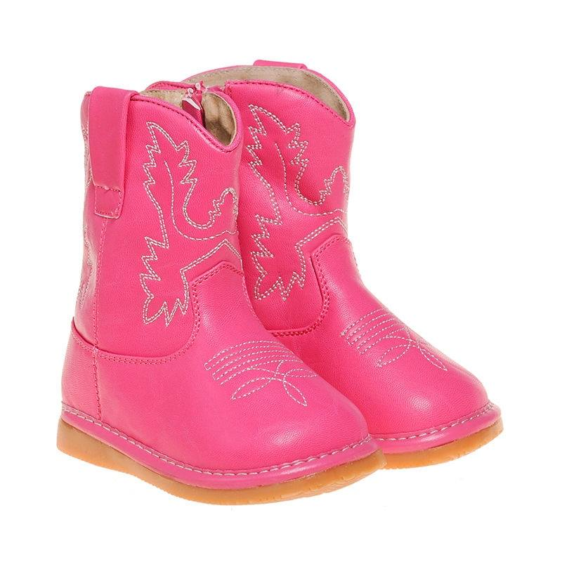 Toddler Girl's Hot Pink Cowboy  Squeaky Boots
