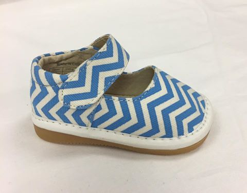 Discontinued Leather Toddler Girl's Blue and White Chevron Canvas Squeaky Shoes